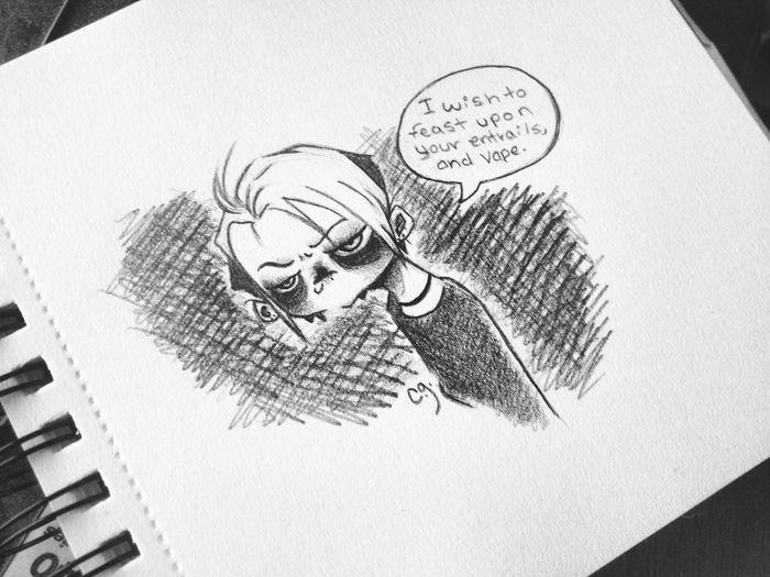 Creepy VapeLife Vape Ghoul Sketch Cartoon Doodle Drawing Art Cute Weirdo Creepy Art