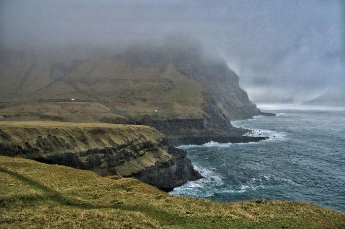 Gasadalur Enjoying The View Faroe Islands Fog Atlantic Ocean Mountains Sea Coast Coastline Nature