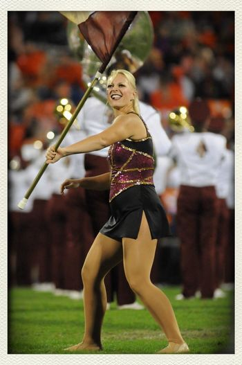Marching Band Color Guard Florida State ❤ Seminoles perform at halftime of the game against Clemson