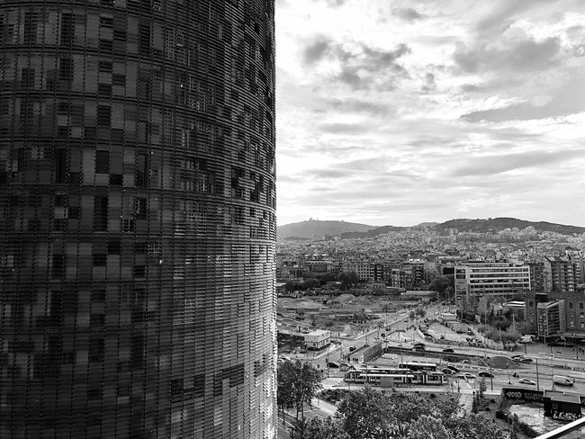 Torre Agbar - Barcelona Built Structure EyeEm Gallery Eye4photography  Iphonephotography Iphoneonly IPhoneography Architecture_collection Bw_collection Black & White Bkack&withe Blackandwhite Cityscape Urban Skyline Landscape_photography Architecture Sky Architecture Built Structure Building Exterior Nature Day No People Cloud - Sky Building
