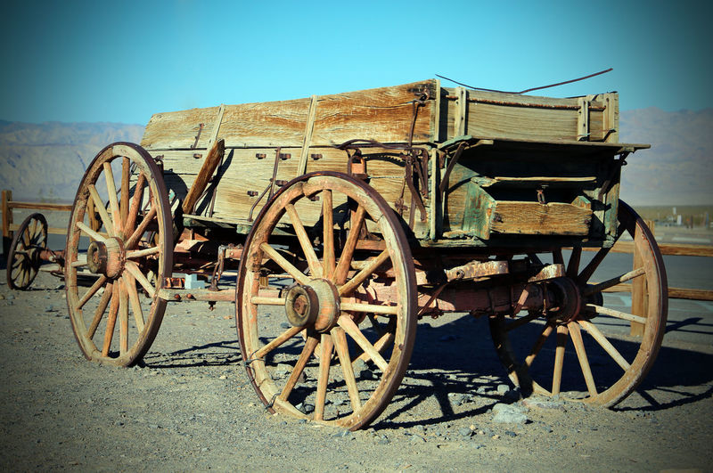Cowboy Death Valley Desert USA USAtrip Abandoned Ancient Damaged Day History No People Outdoors Road Trip Transportation Wagon Wheel Wheel Wooden