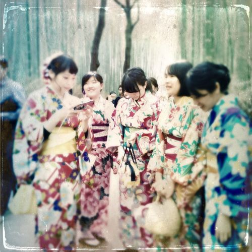 Memory of a spring day in Arashiyama... Traditional Clothing Togetherness Kimono Celebration Medium Group Of People Standing Outdoors Bamboo Grove Bamboo Forest Young Women EyeEm Gallery The Week On Eyem Discover Your City EyeEm Team Travel Destinations Japan