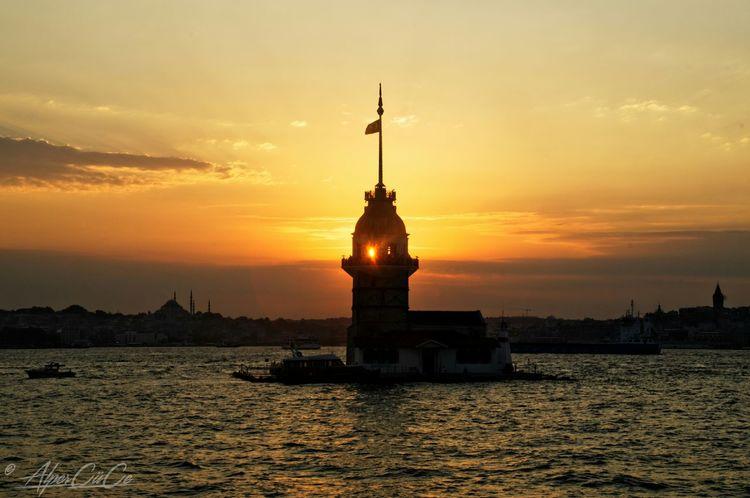 Kizkulesi Istanbul Turkey Maidentower Gunbatimi Maidenstower Sunset