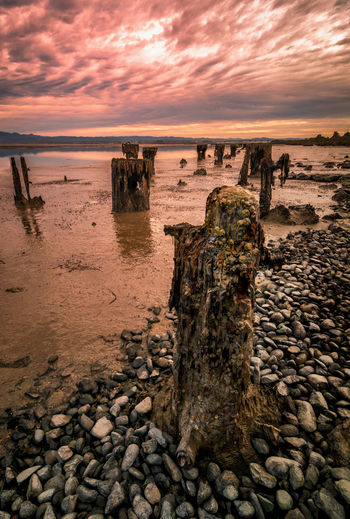 What remains of the old wharf, Humboldt Bay, California. Water Sea Cloud - Sky Solid Sky Rock Scenics - Nature Land Sunset Nature Rock - Object Beach Beauty In Nature Stone - Object Tranquility No People Tranquil Scene Stone Horizon Horizon Over Water Outdoors Pebble Wooden Post Landscape_Collection Humboldt County