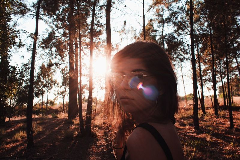 And I One Person Tree Plant Sunlight Headshot Nature Portrait Real People Lens Flare Leisure Activity Sunbeam Land Lifestyles Growth Day Sky Women Outdoors Beauty In Nature Digital Composite