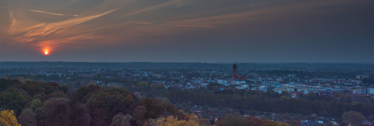 Augsburg Augsburg Germany City Cityscape Sunset Dramatic Sky Dramatic Lighting Mood Architecture Hotelturm Blue Dark Orange Color Orange Sky Bavaria