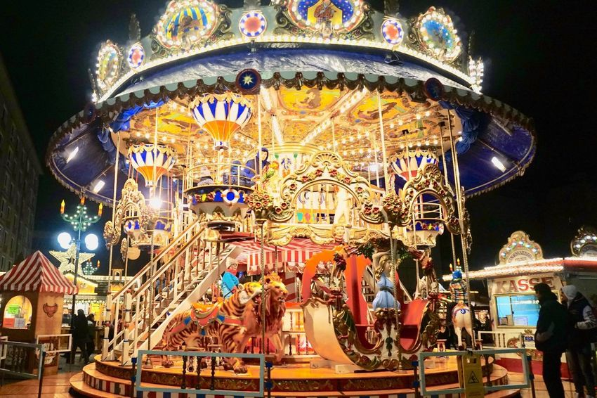 Carousel Carousel Horses Merry-go-round Amusement Park Ride Night Illuminated Christmas Christmas Market 🎄🎅🌟
