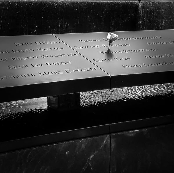 9/11 Memorial Memorial Solemn Remembrance White Rose Water Man Made Object Destination New York City Reverence Black And White Engraved Falling Water Names EyeEmNewHere The Week On EyeEm NeverForget