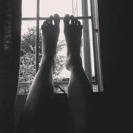 Relax Feet Window Light Blackandwhite