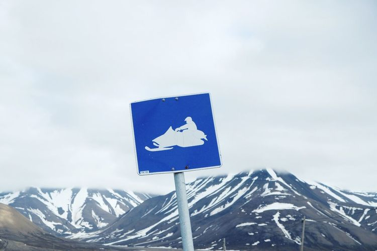 Day No People Blue Communication Outdoors Road Sign Sky Close-up Snowmobile No Snow  Svalbard  Spitzbergen Norway🇳🇴