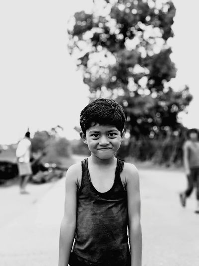 EyeEm Selects Portrait Child Tree Childhood Looking At Camera Front View Standing Winter Waist Up Sky