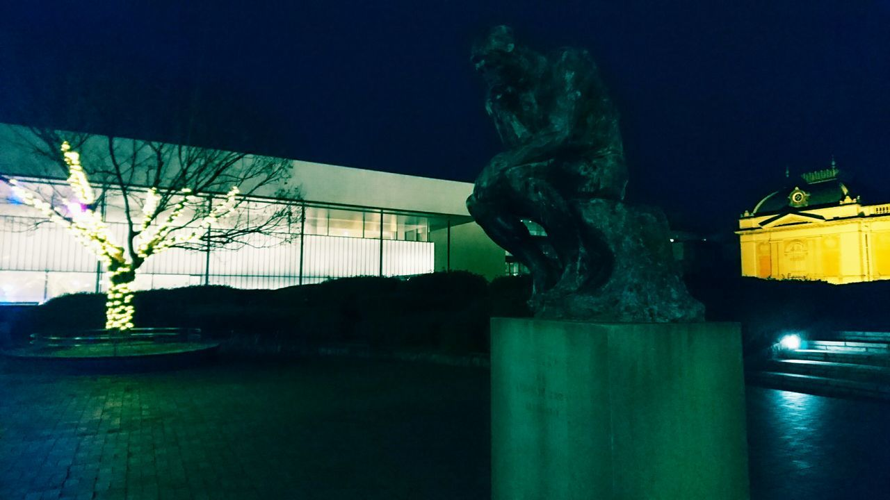 statue, sculpture, night, art and craft, human representation, illuminated, outdoors, no people, built structure, building exterior, architecture, sky, city, tree