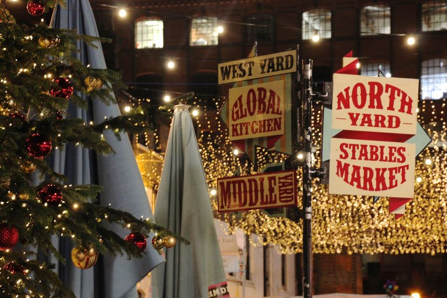 Camden Lock Camden Town Christmas Christmas Lights Market Night Street Decoration The Stables Market, Camden (London)