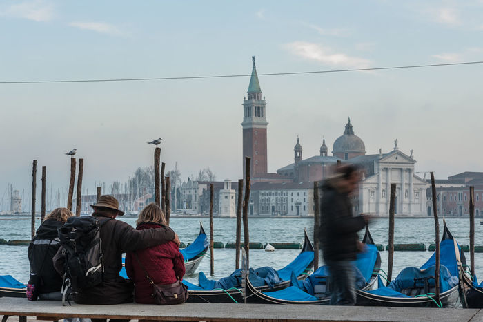 San Giorgio Island view from San Marco Square Architecture Boat Built Structure Famous Place Famous Places Gondole Person Place Of Worship Togetherness Vacations Water People And Places