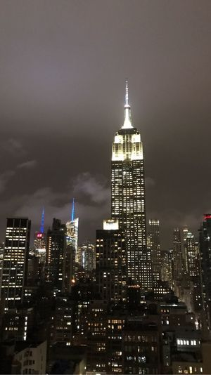 Empire State Building Skyscraper Architecture Building Exterior Illuminated Modern Tall - High City Tower Built Structure Night Downtown District Travel Destinations Tall