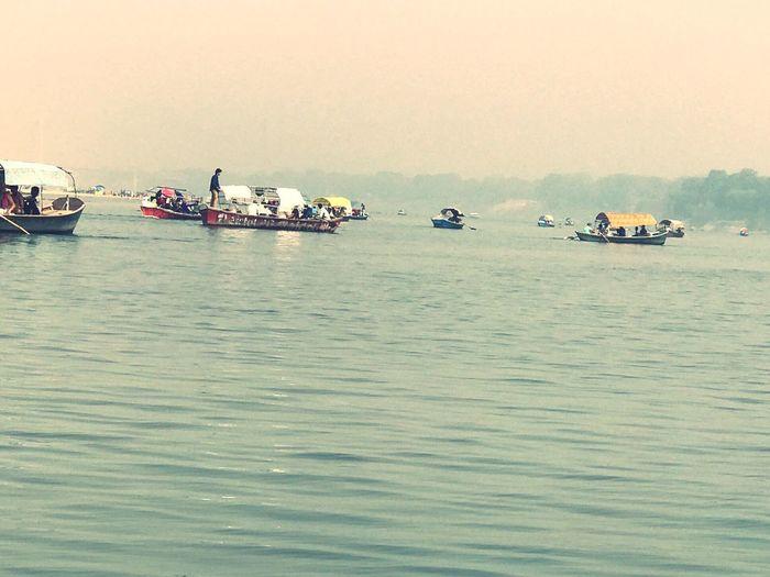 Meeting Place of Ganga , Yamuna and Saraswati called Triveni Saraswati Yamuna Ganga Triveni Sangam Sacred River Sangam Allahabad Water Waterfront Sky Beauty In Nature First Eyeem Photo EyeEmNewHere