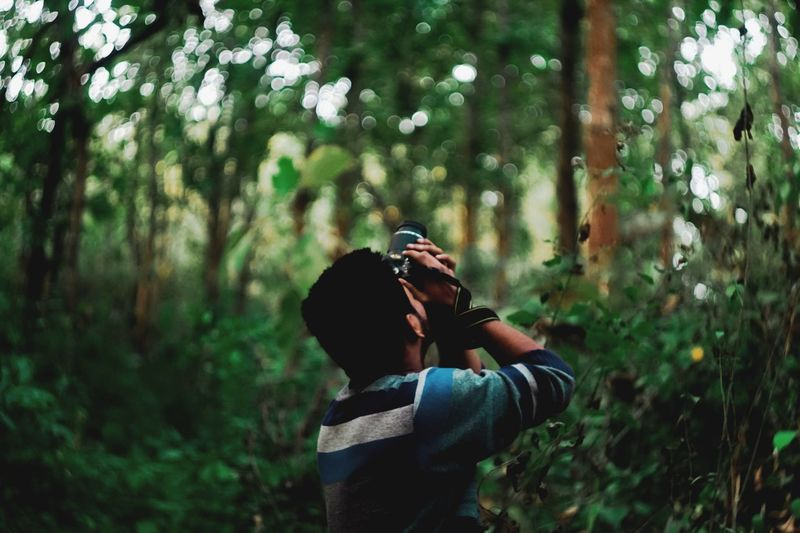Man photographing against trees in forest
