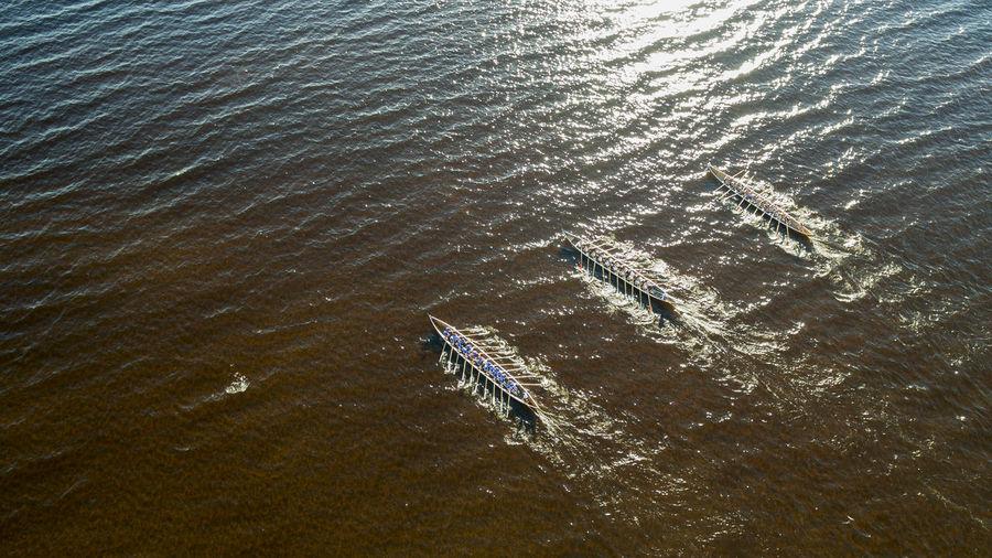 High angle view of churchboat race in calm sea