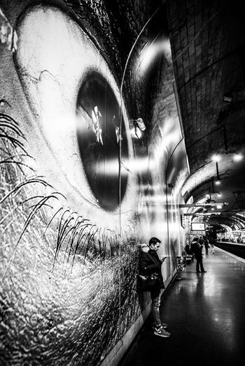Transportation Illuminated Tunnel Somebody Is Watching Jrartist Jr Luxembourg Streetphotography Streetphotography The Week on EyeEm Train Station Public Transportation Art In Public Places Art In Public Spaces Waiting Waiting For A Train