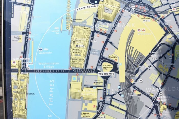 City Map London Map Sign Street Map Architecture Building Exterior Built Structure City Communication Connection Day Industry Information Information Sign Map Maps Nature No People Outdoors Sky Sunlight Technology Travel Yellow