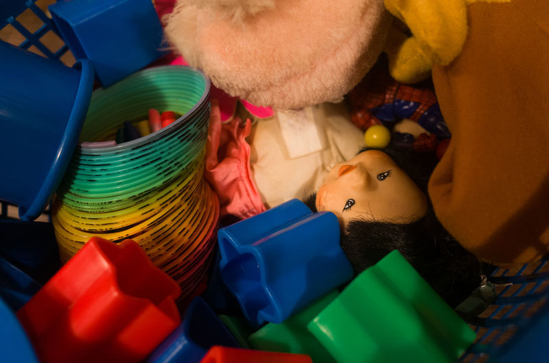 Close-up of multi colored toys