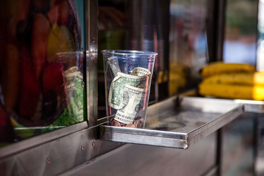 Tip jar at food cart in New York City America Dollar Notes Food Cart Street Photography TIP Tip Jar US Dollar USA USAtrip