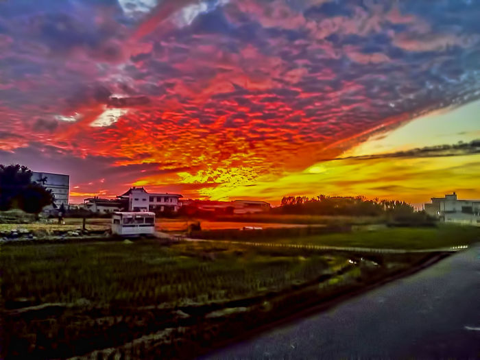 Agriculture Architecture Beauty In Nature Building Exterior Cloud - Sky Day Dramatic Sky Farm Field Grass Greenhouse House Landscape Nature No People Orange Color Outdoors Romantic Sky Rural Scene Scenics Sky Sunset Tree