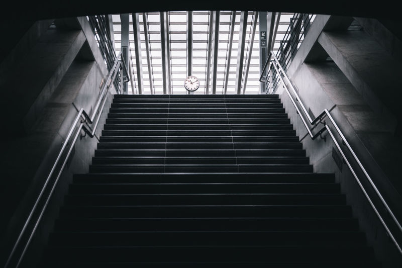 Low angle view of staircase in subway station