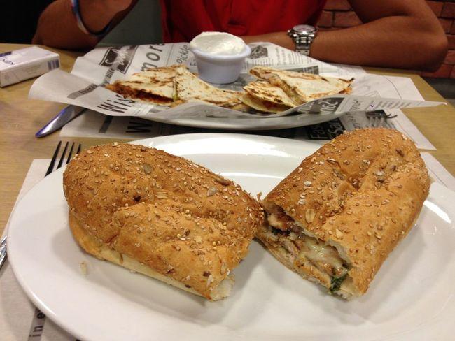 Foodporn Chicken quesidallas and chicken honey mustard at Sandwiched