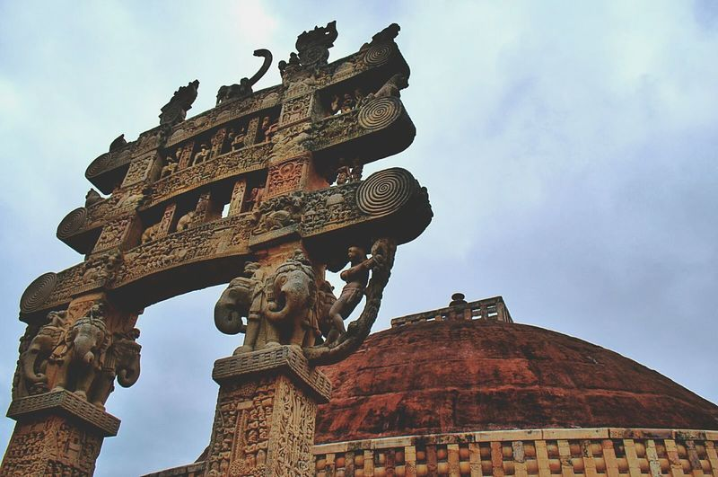 Low angle view of sanchi stupa against sky
