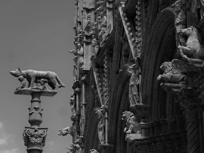 Intricate facade of the Duomo in Siena... loved this city. Architectural Feature Architecture Christianity Churches Duomo Duomo In Siena Gothic Cathedral Pisano Religious Statues Siena Tuscany Monochrome Photography