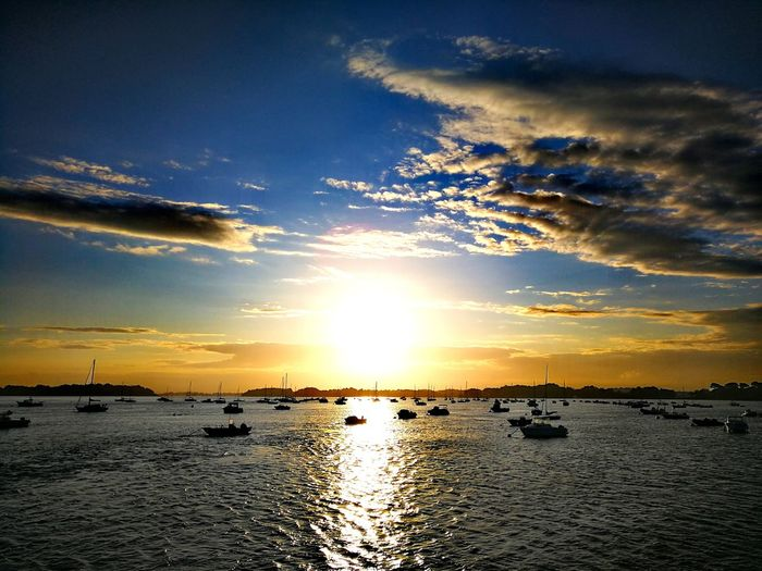Sunlight ☀ Horizon Over Water Outdoors Beauty In Nature Tranquility Bretagne Huawei P10 Plus Breizh Oceanview Morbihan Morninglight Nature_collection Boats EyeEm Best Shots Nature Sky Tranquil Scene Morning Matin Levédesoleil Sunrise