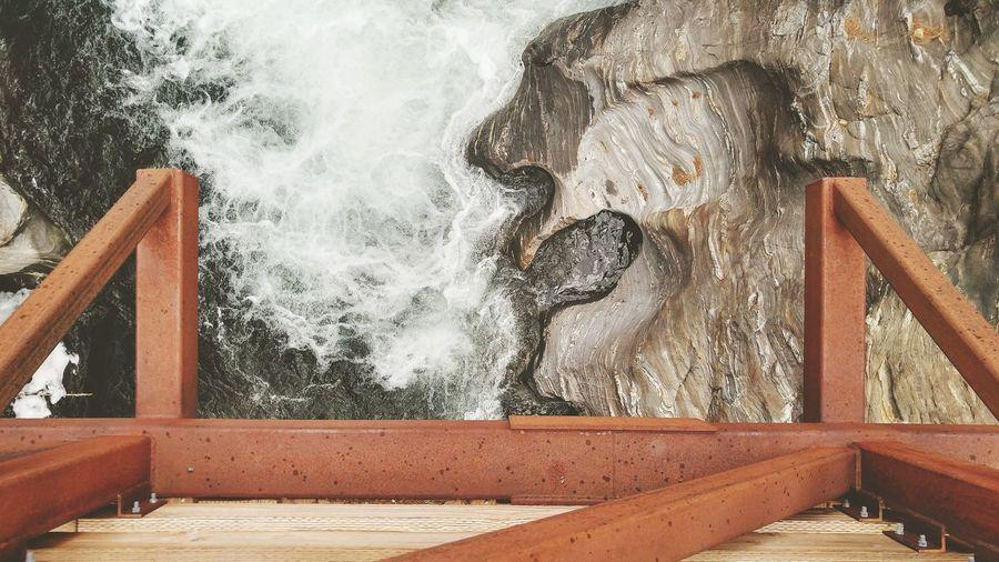 Water splashing on rocks