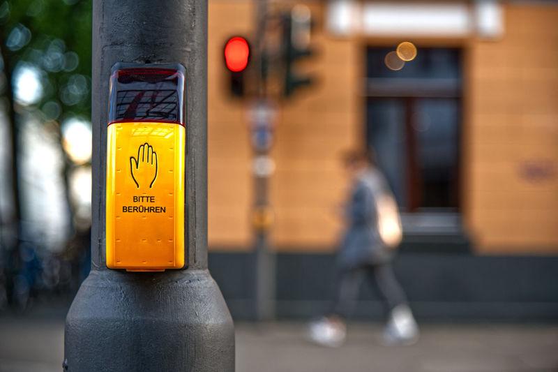 Fußgängerampel Pedestrian Crossing Pedestrian Walkway City Druckereibuxbaum Focus On Foreground Fussgängerüberweg Orange Color Push Button Road Rote Ampel Sign Street Traffic Lights Yellow