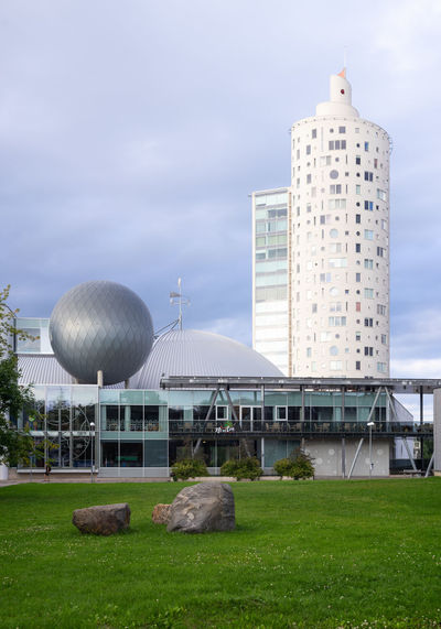 Ahhaa Tigutorn Animal Architecture Building Building Exterior Built Structure City Cloud - Sky Day Dome Industry Land Nature No People Office Building Exterior Outdoors Panoramic Photography Plant Sky Skyscraper Travel Destinations Urban Landscape