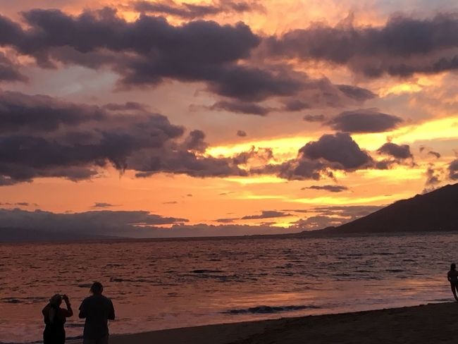 Sunset on Maui Scenics - Nature Leisure Activity Togetherness Tranquil Scene Nature Tranquility Land Silhouette Positive Emotion