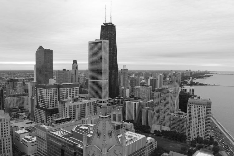 Skyline Chicago Chicago Chicago Architecture Building Exterior Architecture Built Structure City Cityscape Building Sky Skyscraper Tall - High Tower Modern Urban Skyline Travel Destinations No People Landscape Financial District  Outdoors Day Cityscape Blackandwhite Black & White Black And White Lake
