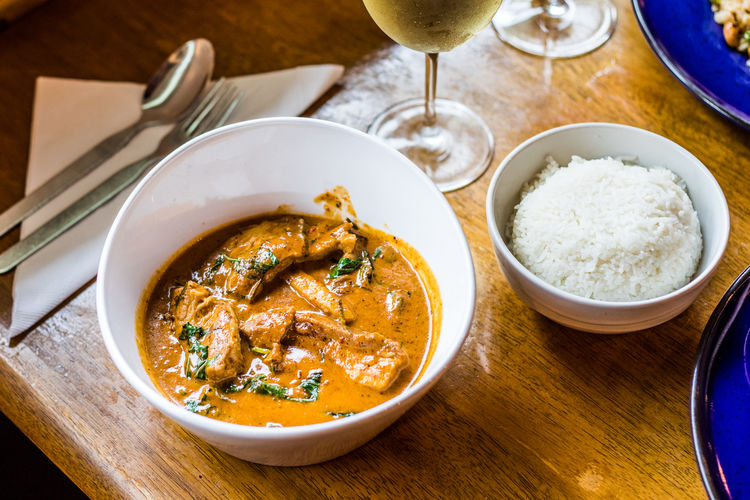 Curry Bowl Dinner Food Food And Drink High Angle View Indoors  Still Life Table Thai Curry