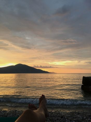 Me and sea Water Sky Sea Sunset Human Body Part Cloud - Sky Beach Human Leg Beauty In Nature Low Section Body Part One Person Land Scenics - Nature Nature Real People Leisure Activity Relaxation Human Foot Outdoors