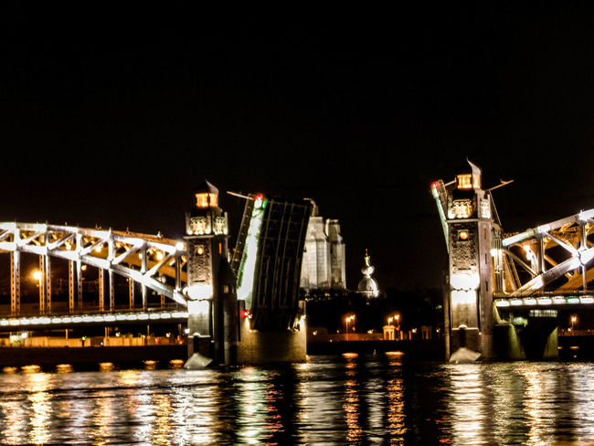 Architecture Bridge - Man Made Structure Building Exterior Built Structure Chain Bridge Clear Sky Connection Illuminated Night No People Outdoors River Sky Tourism Transportation Travel Destinations Water Waterfront