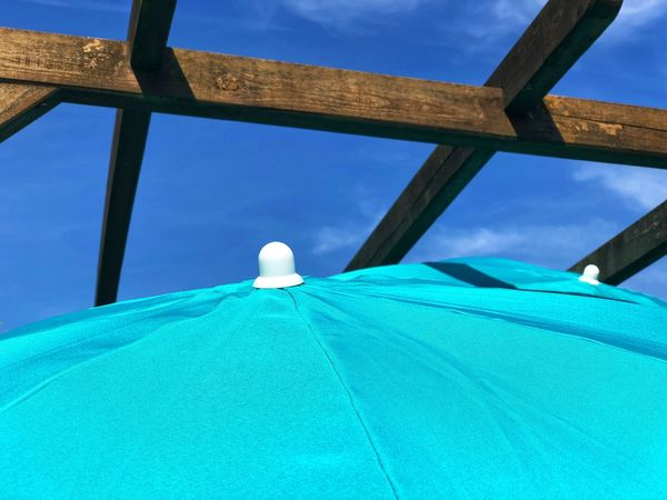 Summer Blue Sky Gazebo Parasol Sky Architecture Low Angle View No People Blue Clear Sky Day Built Structure Nature Outdoors Travel Pattern Close-up Shape Tourism Turquoise Colored