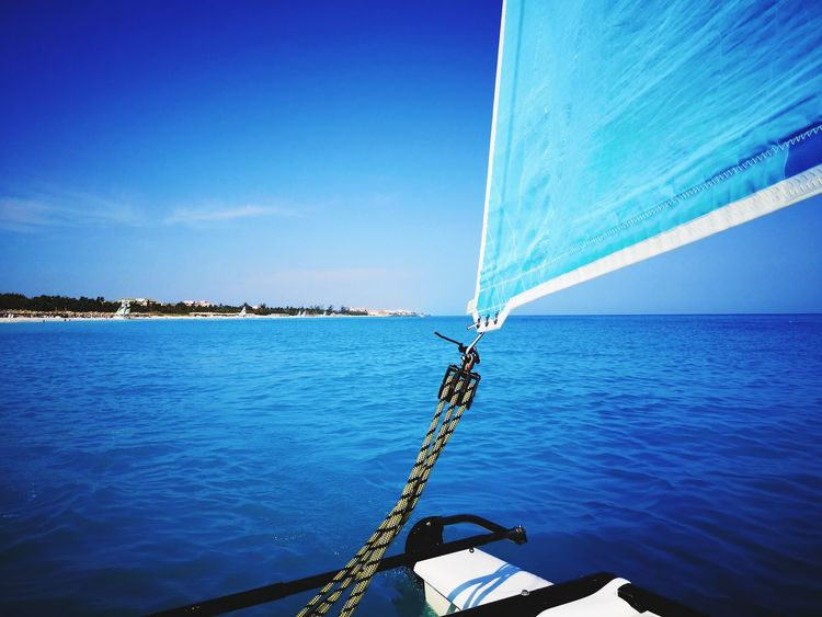 Caribbean Blue Sea Sailing Catamaran Hollidays Vacations Varadero Melia GoodTimes Havingfun EyeEm Selects Water Sea Nautical Vessel Sailing Sky Horizon Over Water Boat Deck