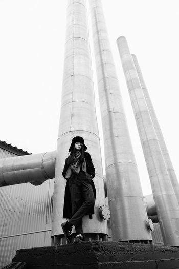 Девушка на фоне заводских труб. Siberia Winter Tyumen Fashion Girl Urban Urban Geometry Human Hand Statue City Sky Architecture Built Structure Tower The Modern Professional The Modern Professional