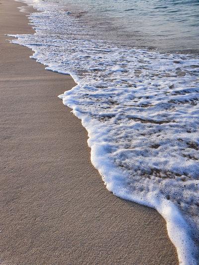 Foamy wave front on a sandy beach