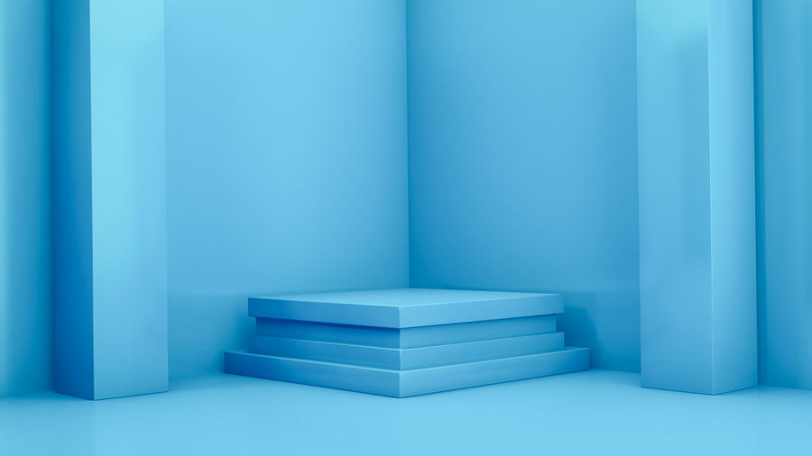 Close-up of empty room against blue wall