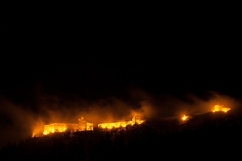 Ruin Strechau in Rottenmann/Styria Burning Flame Night Environment No People Outdoors Power In Nature Ruins Ancestors
