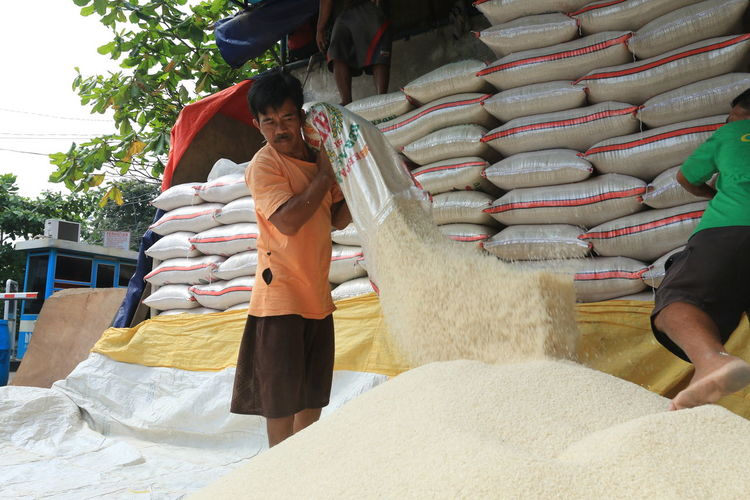 Jakarta, 27 April 2017 : Jakarta, ahead of Ramadhan, rice stock in Cipinang rice market is abundant, people are calm, government is calm, Indonesia is safe. Agro Industry Buyers And Sellers Economy Finance And Economy Labor Market People Raw Food Rice Rice Market Rice Paddy Rice Stock Social Social Issues Society Worker
