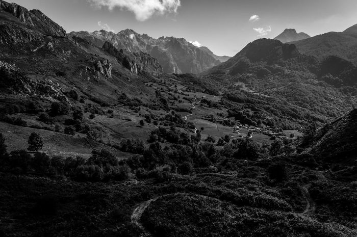 Beauty In Nature Day Growth Landscape Mountain Mountain Range Nature No People Outdoors Picos De Europa Plant Scenics Sky Tranquil Scene Tranquility Tree