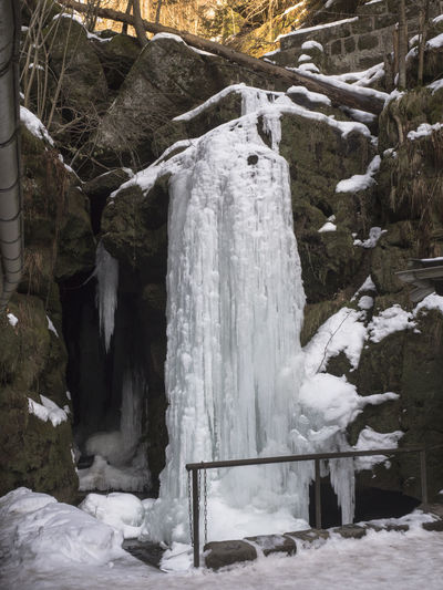 Winter Waterfall Icicle Frozen Nature Rock - Object Tranquility Cold Temperature Ice Scenics - Nature No People Outdoors Amselfall Sächsische Schweiz Saxon Switzerland Amselgrund National Park Season  Snow Kaskade Germany