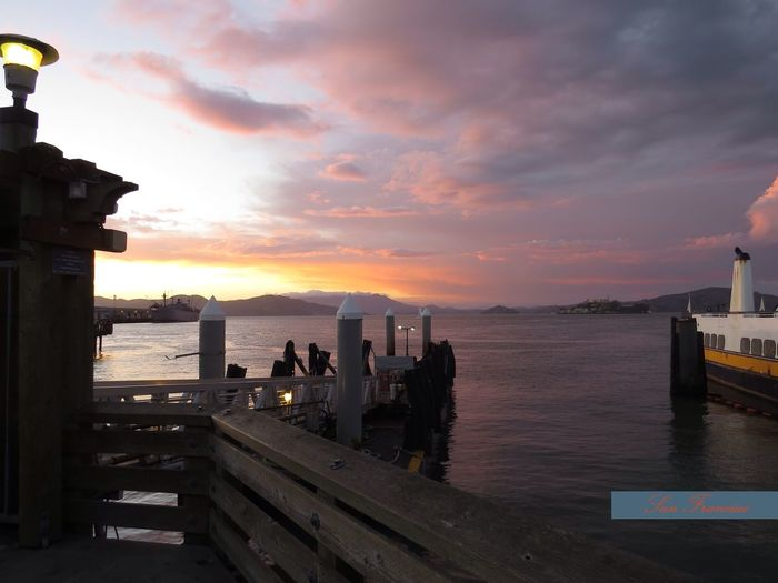 Pier 39 when the sun goes down, San Francisco Pier 39 Vacation Time Travel Photography San Francisco Relaxing At The Bay Romantic Atmosphere Travel Destination Beauty In Nature Tranquil Scene Water And Sky Chillin' San Francisco Bay Mood Sea And Sky Pastel Colors Relaxing Sunset Getting Inspired Desktop Backgrounds Idyllic Scenery Beautiful Sky Adventure Club Natural Beauty